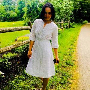 J crew white linen dress. Size 4.